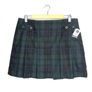 GAP Plaid Green Pleated School Girl Mini Skirt 10
